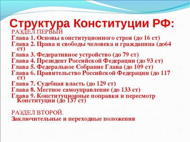 Структура Конституции РФ: РАЗДЕЛ ПЕРВЫЙ Глава 1. Основы конституционного стро...