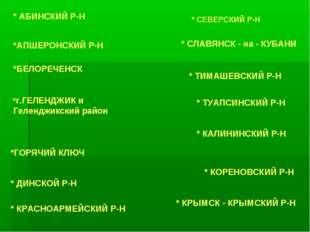 * АБИНСКИЙ Р-Н *АПШЕРОНСКИЙ Р-Н *БЕЛОРЕЧЕНСК *г.ГЕЛЕНДЖИК и Геленджикский рай