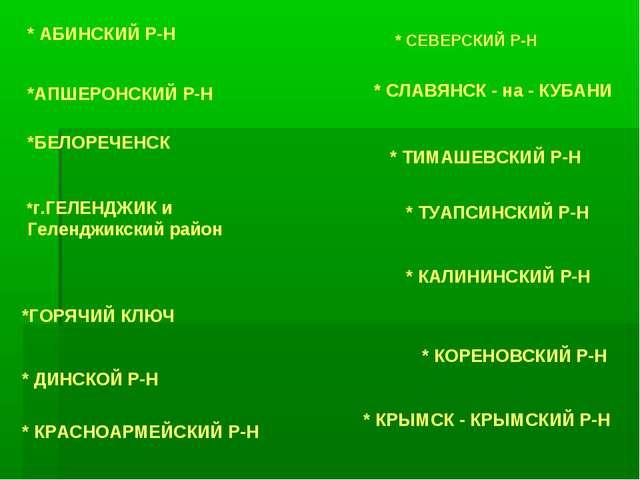 * АБИНСКИЙ Р-Н *АПШЕРОНСКИЙ Р-Н *БЕЛОРЕЧЕНСК *г.ГЕЛЕНДЖИК и Геленджикский рай...