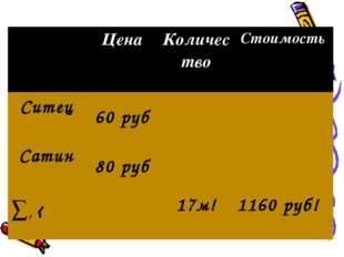 Цена Количество Стоимость Ситец 60 руб Сатин 80 руб ∑, ‹17м! 1160