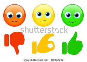 Smiles and thumbs up and down - stock vector