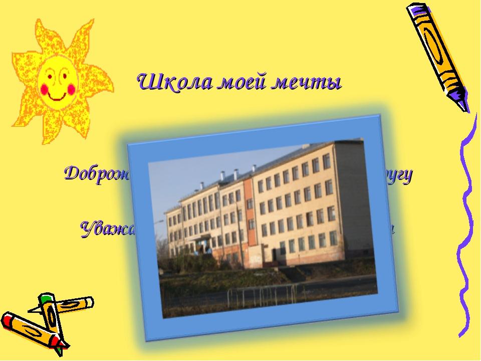 Школа моей мечты Все здороваются Доброжелательно относятся друг к другу Инте...