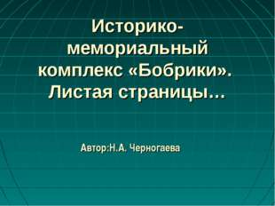 Историко-мемориальный комплекс «Бобрики». Листая страницы… Автор:Н.А. Черног