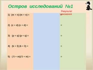 Мисник Л.П. ГОУ ЦО № 975 Остров исследований №1 Результат умножения (m + n) (