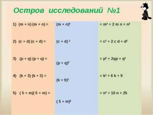 Мисник Л.П. ГОУ ЦО № 975 Остров исследований №1 (m + n) (m + n) = (c + d) (c