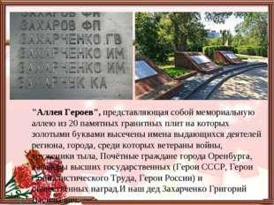 """""""Аллея Героев"""", представляющая собой мемориальную аллею из 20 памятных гранит"""