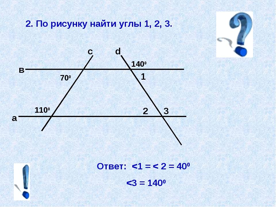 2. По рисунку найти углы 1, 2, 3. Ответ: