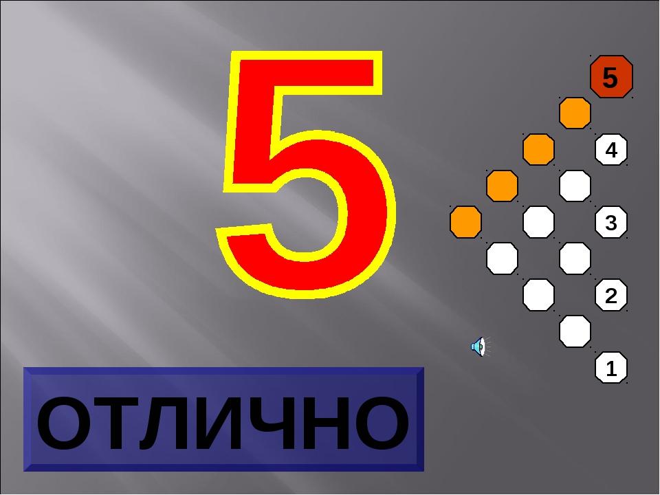 ОТЛИЧНО 5 4 3 2 1