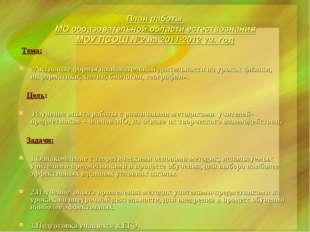 План работы МО образовательной области естествознания МОУ ПСОШ №2 на 2011-201