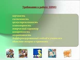Требования к работе ШМО научность системность целеустремленность планомерност