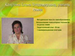 Качулина Елена Владимировна, учитель химии Методическая тема (по самообразова