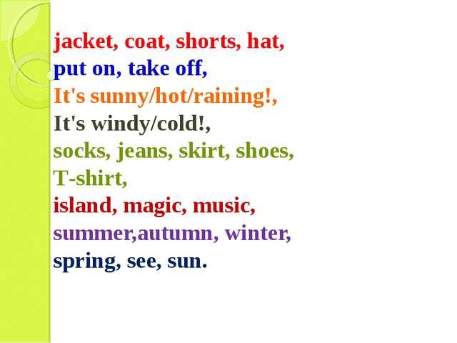 jacket, coat, shorts, hat, put on, take off, It's sunny/hot/raining!, It's wi...