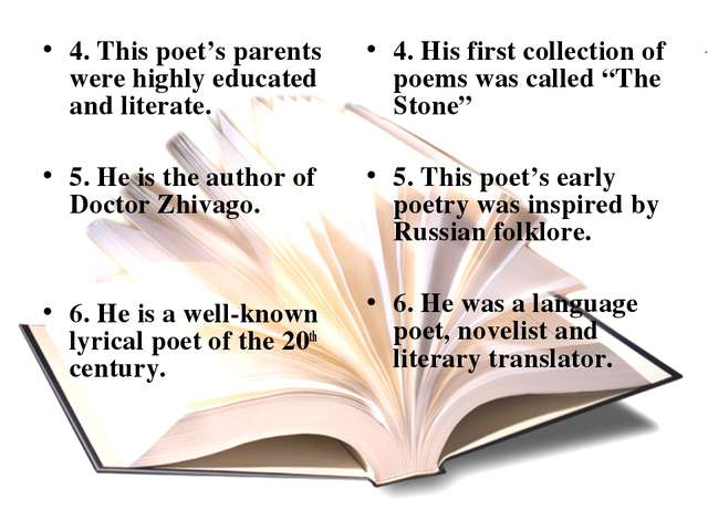 4. This poet's parents were highly educated and literate. 5. He is the author...