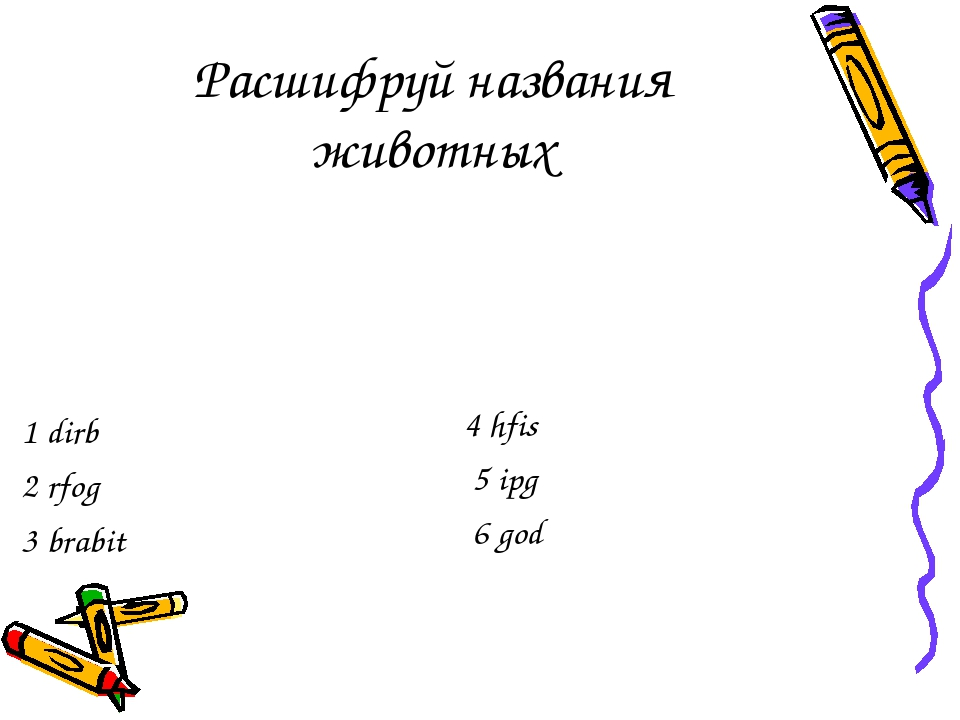 Расшифруй названия животных 1 dirb 2 rfog 3 brabit 4 hfis 5 ipg 6 god