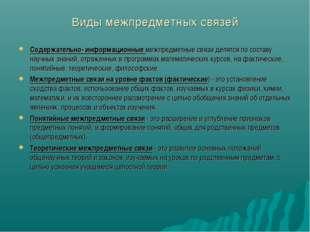 Виды межпредметных связей Содержательно- информационные межпредметные связи д