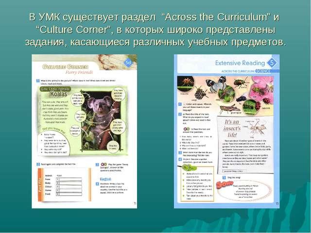 """В УМК существует раздел """"Across the Curriculum"""" и """"Culture Corner"""", в которых..."""