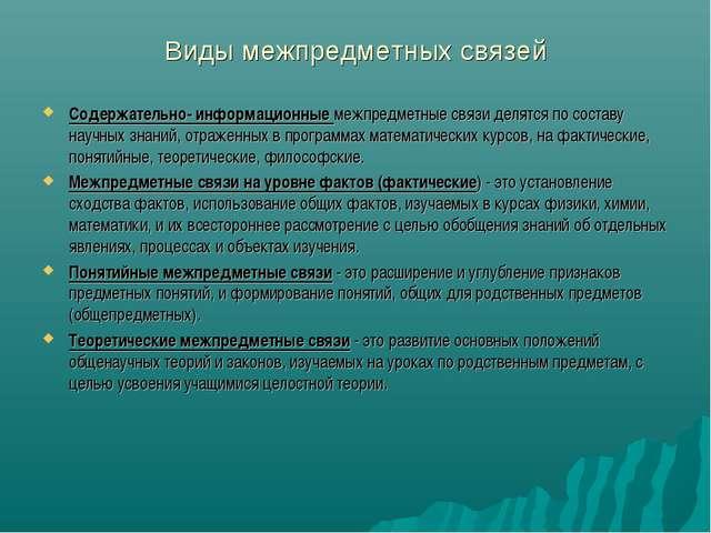 Виды межпредметных связей Содержательно- информационные межпредметные связи д...