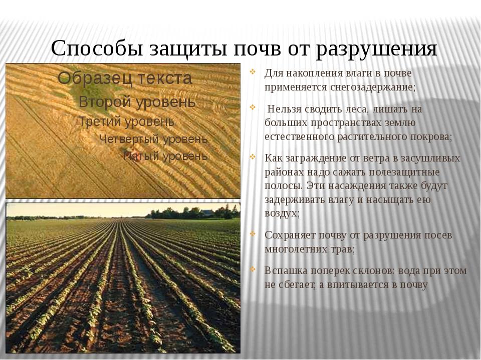 Способы защиты почв от разрушения Для накопления влаги в почве применяется сн...