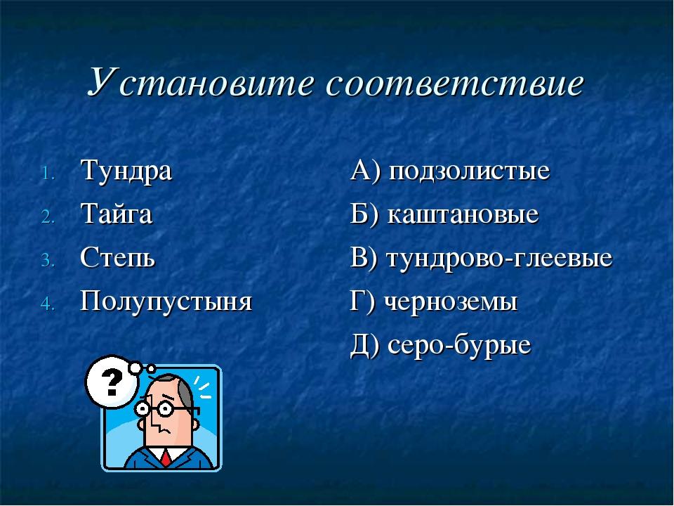 Установите соответствие Тундра Тайга Степь Полупустыня А) подзолистые Б) кашт...