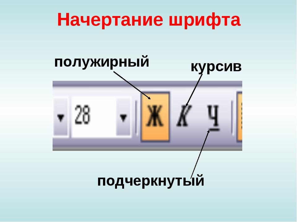 Начертание шрифта полужирный курсив подчеркнутый