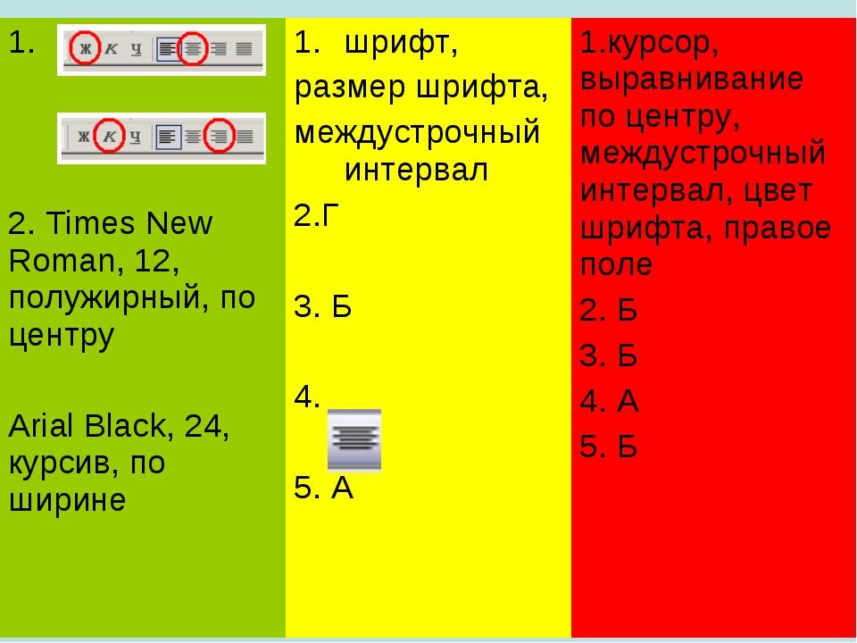 1. 2. Times New Roman, 12, полужирный, по центру Arial Black, 24, курсив, по...