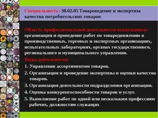 Специальность: 38.02.05 Товароведение и экспертиза качества потребительских т