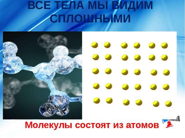 ВСЕ ТЕЛА МЫ ВИДИМ СПЛОШНЫМИ Молекулы состоят из атомов