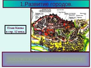 1.Развитие городов. Внутри кремля располагались монастыри,церк ви,княжеские х