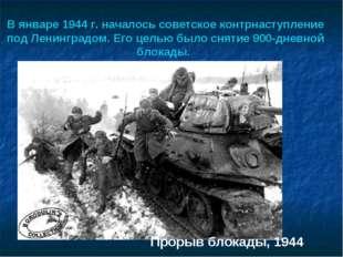 В январе 1944 г. началось советское контрнаступление под Ленинградом. Его це