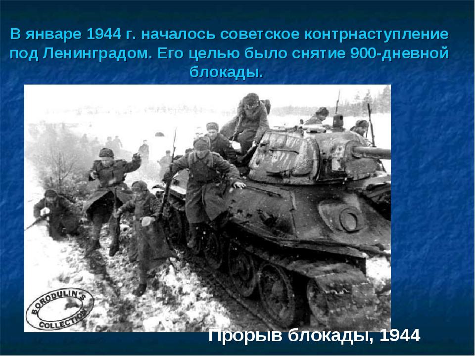 В январе 1944 г. началось советское контрнаступление под Ленинградом. Его це...