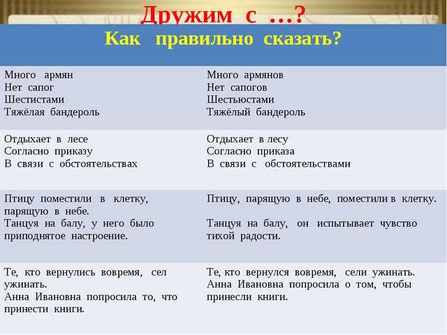 Дружим с …? Как правильно сказать? Много армян Нет сапог Шестистами Тяжёлая...
