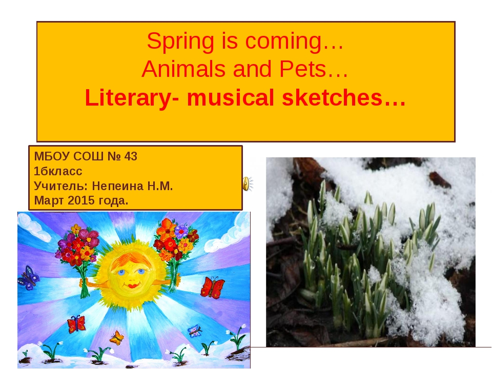 Spring is coming… Animals and Pets… Literary- musical sketches… МБОУ СОШ № 43...