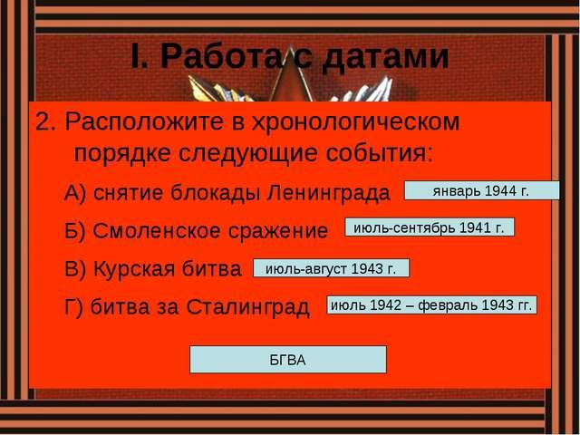 I. Работа с датами 2. Расположите в хронологическом порядке следующие события...
