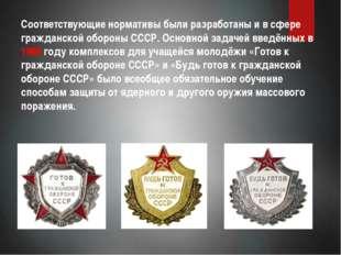 Соответствующие нормативы были разработаны и в сфере гражданской обороны СССР