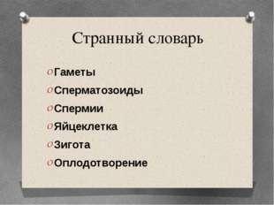 Странный словарь Гаметы Сперматозоиды Спермии Яйцеклетка Зигота Оплодотворение