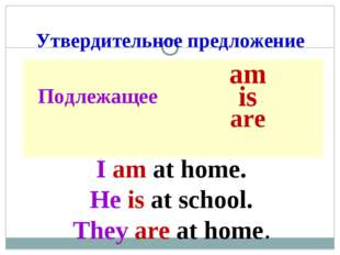 Утвердительное предложение I am at home. He is at school. They are at home. П