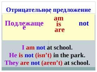 Отрицательное предложение I am not at school. He is not (isn't) in the park.