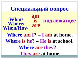 Специальный вопрос Where am I? – I am at home. Where is he? – He is at school