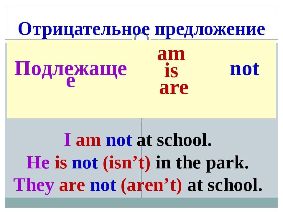 Отрицательное предложение I am not at school. He is not (isn't) in the park....