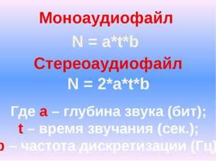 Моноаудиофайл Стереоаудиофайл N = a*t*b N = 2*a*t*b Где a – глубина звука (би