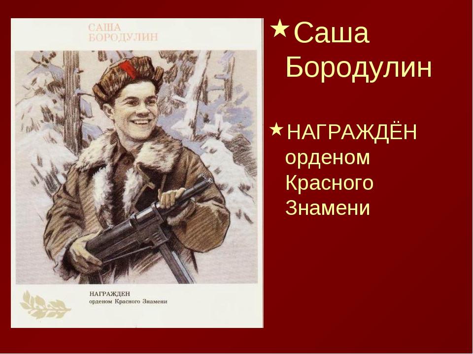 Саша Бородулин НАГРАЖДЁН орденом Красного Знамени