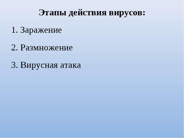 Этапы действия вирусов: 1. Заражение 2. Размножение 3. Вирусная атака