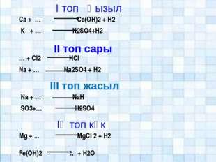 І топ Қызыл ІІ топ сары ІІІ топ жасыл Ca + … Ca(OН)2 + H2 К + … K2SO4+H2 … +