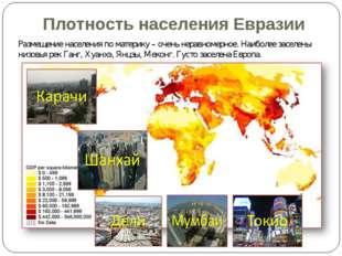Плотность населения Евразии Размещение населения по материку – очень неравном