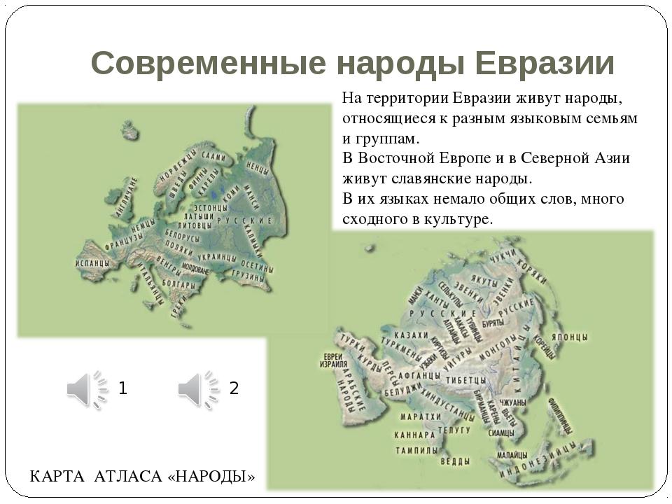 Современные народы Евразии На территории Евразии живут народы, относящиеся к...