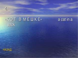 4. «К О Т В М Е Ш К Е» a cat in a sack НАЗАД