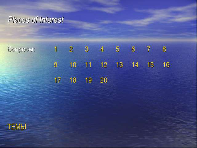 Places of Interest Вопросы: 1 14 3 4 5 6 7 8 9 10 11 12 13 2 15 16 17 18 19 2...
