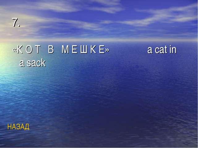 7. «К О Т В М Е Ш К Е» a cat in a sack НАЗАД