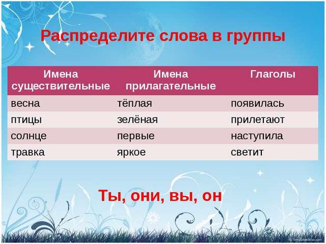 Распределите слова в группы Ты, они, вы, он Имена существительные Имена прила...