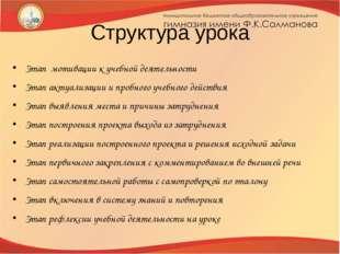 Структура урока Этап мотивации к учебной деятельности Этап актуализации и про